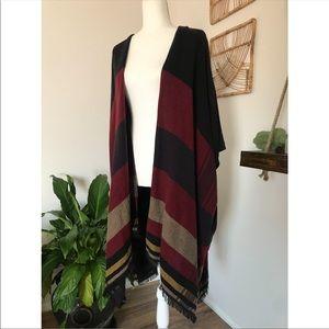 LOFT striped boho poncho shawl cardigan